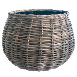 Round Grey Shaped Planter with Plastic Liner Large
