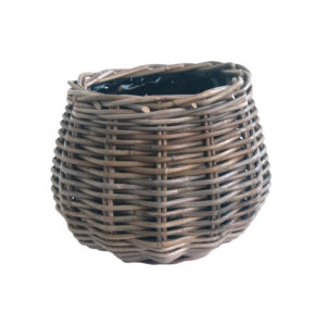 Round Grey Shaped Planter with Plastic Liner Small