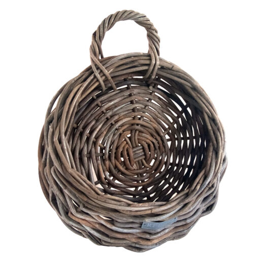 Round Grey Rattan Wall Hanging Planter with Handle