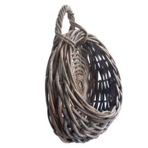 Side View of Round Grey Rattan Wall Hanging Planter