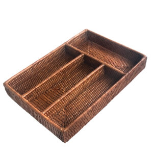 Fine Woven Natural Rattan Cutlery Tray