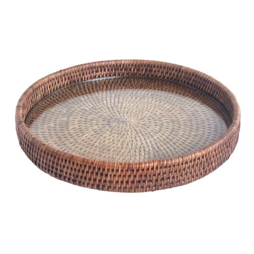 Natural Brown Rattan Cheese Tray with Glass Base