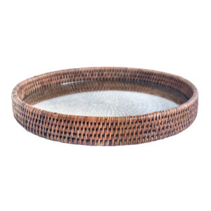Rattan Cheese Tray with Glass Base