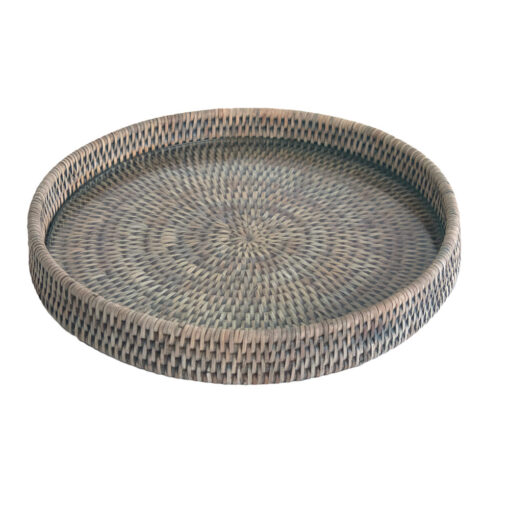 Grey Rattan Cheese Tray with Glass Base