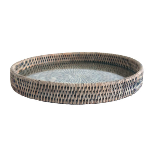 Round Grey Rattan Cheese Tray with Glass Base