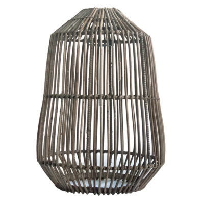 Tall Cylindrical Grey Rattan Pendant Lampshade