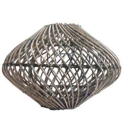 Round Spiral Weave Rattan Pendant Lampshade in Grey