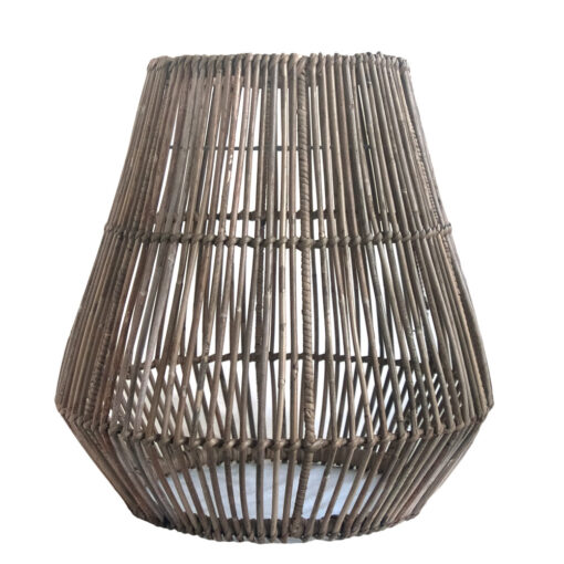 Large Shaped Cage-effect Grey Rattan Pendant Lampshade