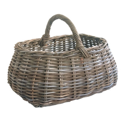 Large Grey Shaped Oval Shopping Basket with Handle