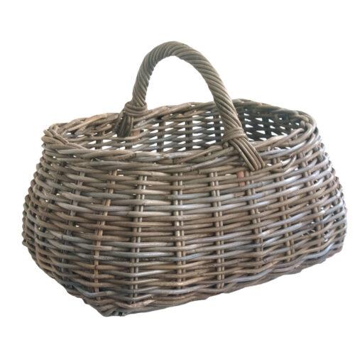 Large Grey Shaped Oval Shopping Basket with Handle