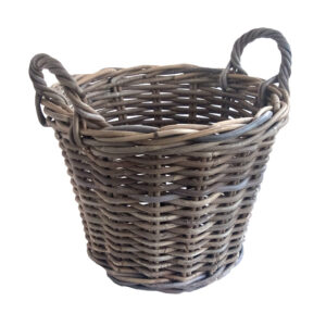 Small Round Grey Basket with Handles