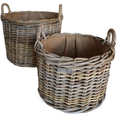 Lined Round Grey Log Basket in 2 sizes