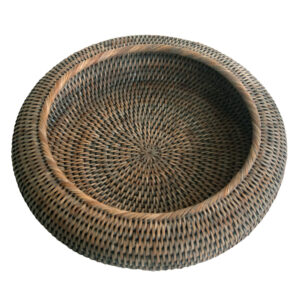 Grey Round Shaped Rattan Bowl