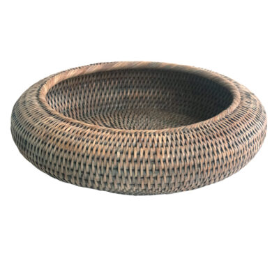Grey Round Shaped Rattan Bowl