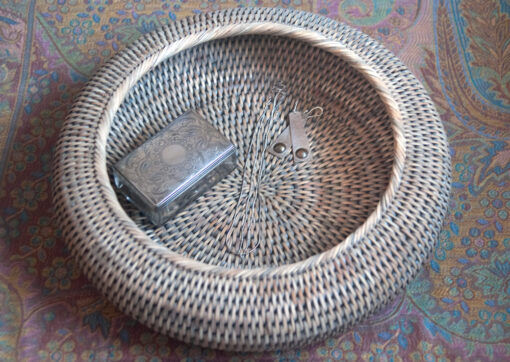 Round Grey Shaped Rattan Bowl