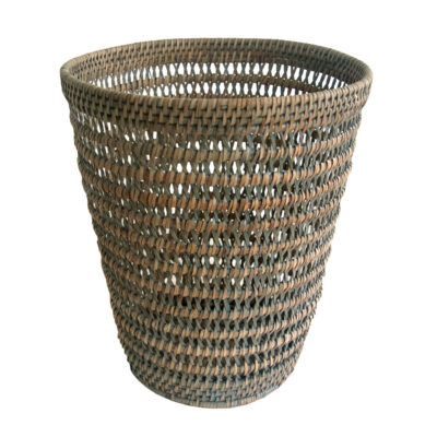 Round Grey Open Weave Wastepaper Basket