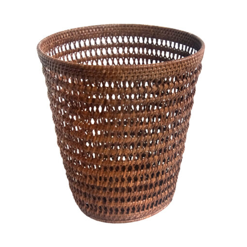Round Open Weave Rattan Wastepaper Basket