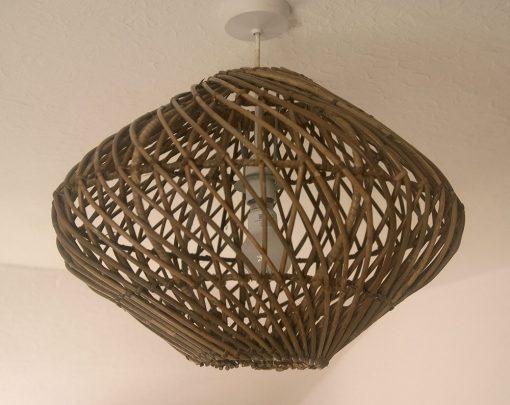 Round Grey Spiral Weave Rattan Pendant Lampshade