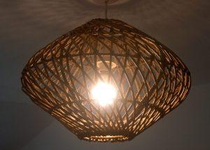 Round Grey Spiral Weave Rattan Pendant Lampshade Alight