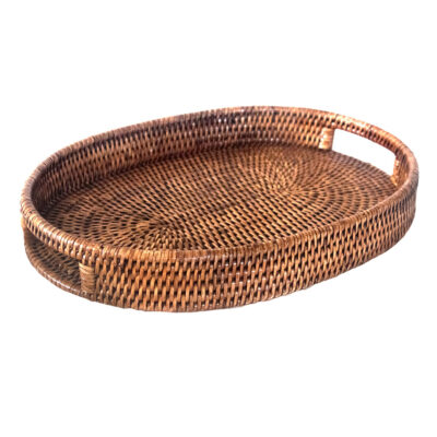 Oval Rattan Drinks Tray