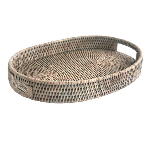Grey Oval Rattan Drinks Tray