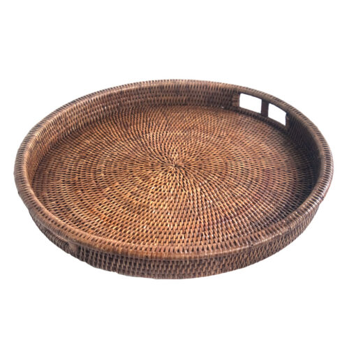Round Woven Rattan Drinks Tray