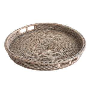 Round Grey Drinks Tray with hand holes