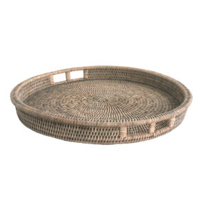 Round Grey Rattan Drinks Tray