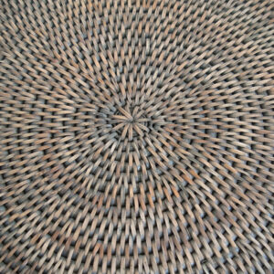 Round Grey Drinks Tray weave