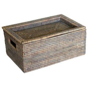 Fine Grey Storage Box with Tray Lid