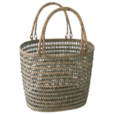 Grey Rattan Interior Design Storage Basket