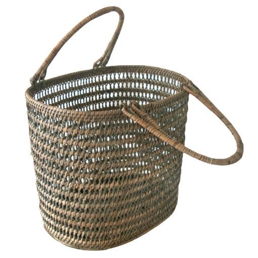 Grey Rattan Interior Designer Basket with Handles