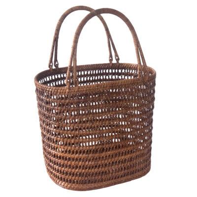 Oval Open Weave Rattan Designer Basket