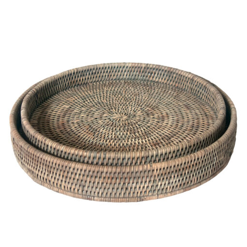 Round Grey Rattan Serving Tray in 2 sizes