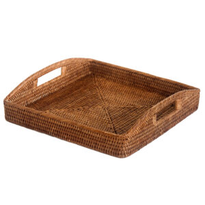 Square Natural Rattan Serving Tray
