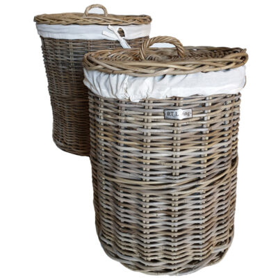 Round Grey Rattan Laundry Basket