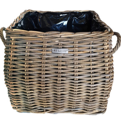 Square Grey Shaped Rattan Planter with Plastic Liner