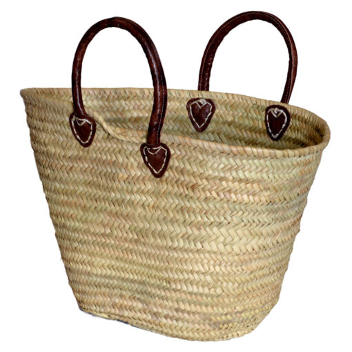Small Palm French Market Shopping Basket with Rolled Leather Handles